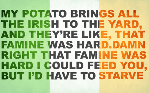 Irish flag with fictional lyrics